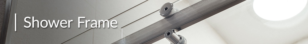 The top rail of a sliding glass door shower frame.