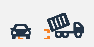 a graphic of a car blocking the delivery of a roll off dumpster