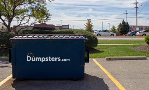 Sideview of a Blue Permanent Dumpster With a Dumpsters.com Logo