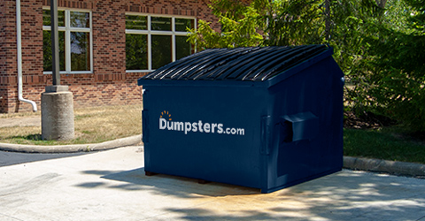 Front Load Dumpster with Dumpsters.com Logo