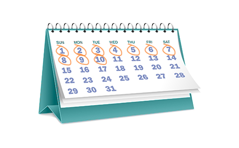 graphic of a calendar with dates scratched out