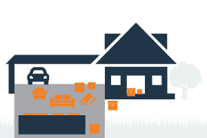 graphic of a house with an open garage and junk around a dumpster