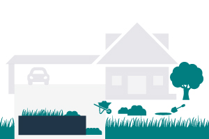 graphic of a residential home and landscaping waste around a dumpster