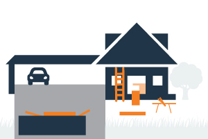 graphic of a house with a dumpster ladder and building materials nearby