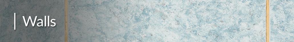 Blue ceramic shower wall tiles.