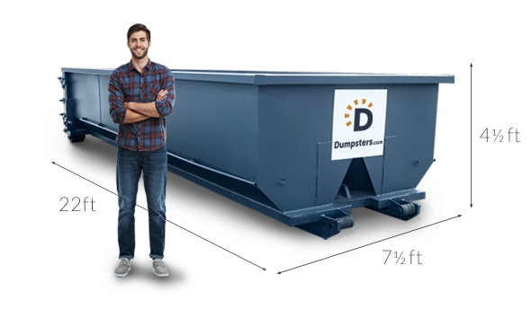 Man in Flannel Shirt Standing in Front of Residential Dumpster With Lines Showing Dimensions